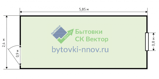 Блок-контейнер металлический БК-01 2.4x6 м — Схема