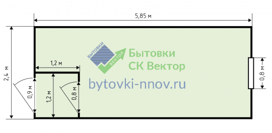 Бытовка деревянная Б-02 2.3x6 м с тамбуром — Схема