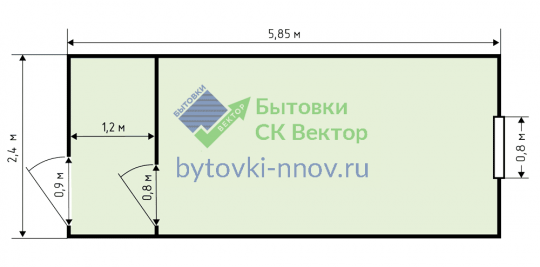 Бытовка деревянная 2.3x6 м с коридором, Б-03 — Схема