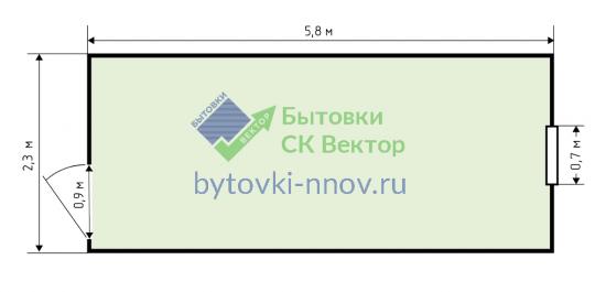 Металлическая строительная бытовка 2.3x6 метров, БМ-01 — Схема