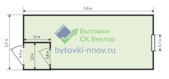 Бытовка из металла 2.3x6 метров, БМ-02 — Схема