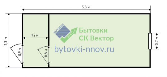 Строительная металлическая бытовка 2.3x6 м, БМ-03 — Схема