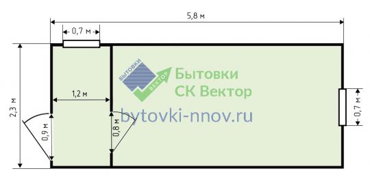 Металлическая бытовка крашеная 2.3x6 метров БМ-07 — Схема
