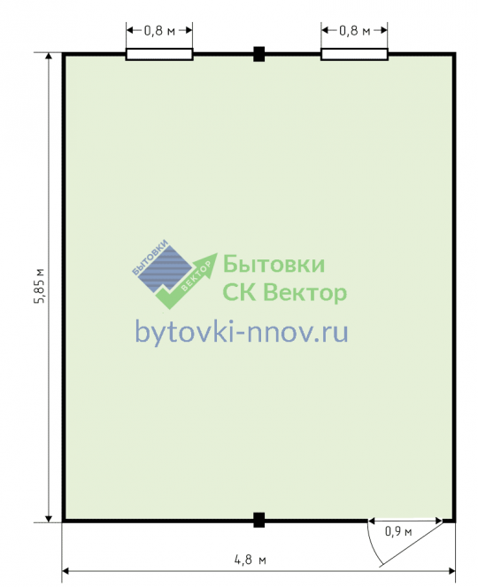 Модульное здание из 2 блок-контейнеров 5x6 метров МЗ-2-1 — Схема