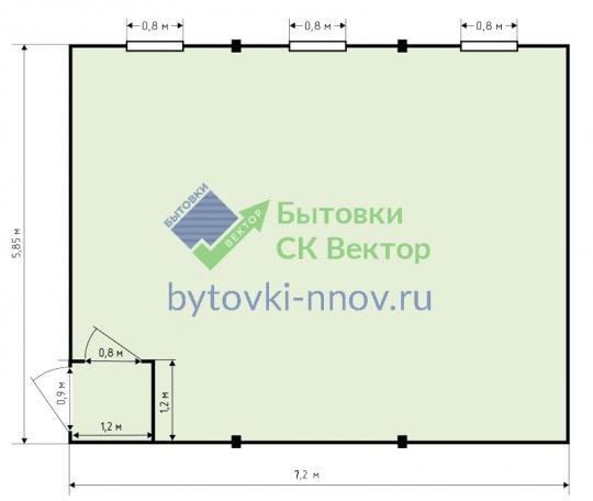 Модульное здание из 3 блок контейнеров (сэндвич-панели) 6x7 метров МЗС-3-2 — Схема