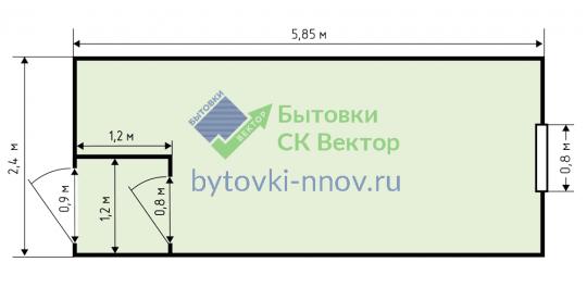 Блок-контейнер металлический 2.4x6 м, БК-02 — Схема