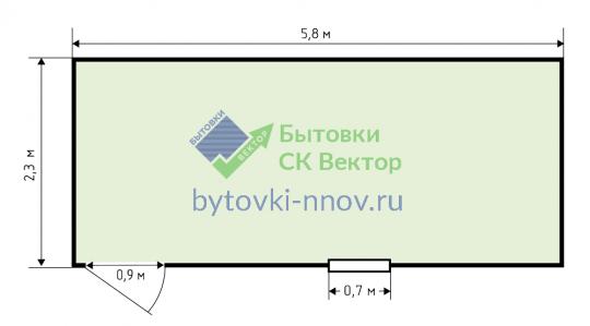Бытовка деревянная 2,3x6 м, Б-04 — Схема