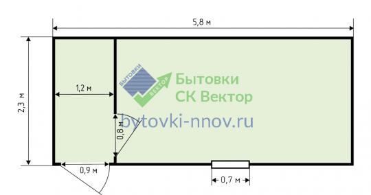 Бытовка деревянная со сплошным тамбуром 2.3x6 м, Б-05 — Схема