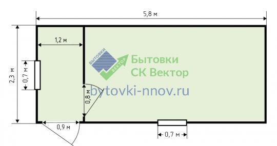 Бытовка строительная с 2 окнами 2.3x6 м, Б-06 — Схема