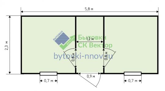 Бытовка дачная распашонка 6х2.3 м, Б-08 — Схема