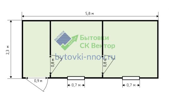 Бытовка с 2 перегородками 6x2.3 метра, Б-09 — Схема