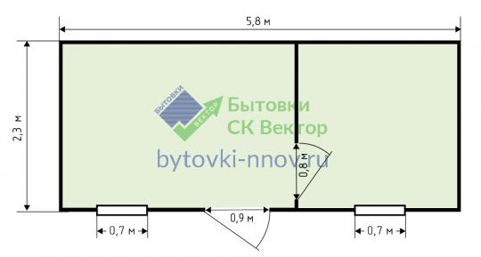Бытовка для дачи с перегородкой, 6x2.3 м, Б-10 — Схема