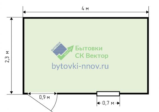 Бытовка 4х2,3 метра деревянная, Б-11 — Схема