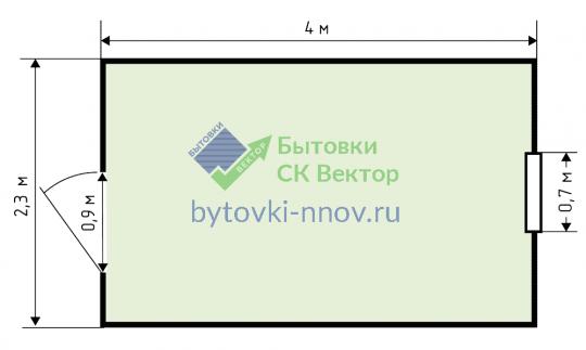 Бытовка дачная 4х2,3 м, Б-12 — Схема