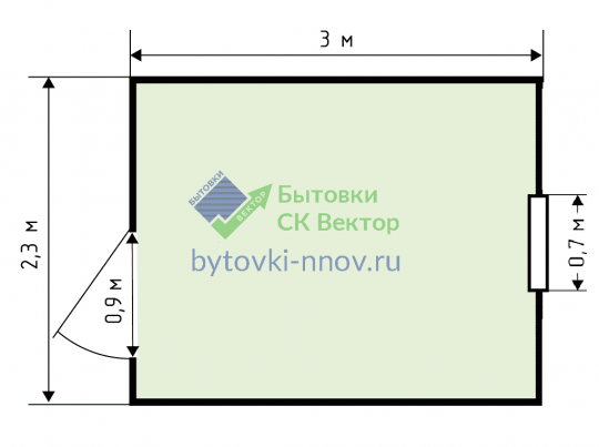 Бытовка 3х2,3 м, Б-13 — Схема